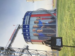 Brock is turning their 63,000-bushel display bin into a giant visual tribute with a massive 37-ft. by 32-ft. photo of the Jenks family, a sixth-generation farm family from west central Illinois.